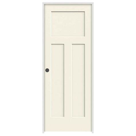Jeld Wen Prehung Interior Doors Jeld Wen 36 In X 80 In Molded Smooth 3 Panel Craftsman Vanilla Hollow Composite