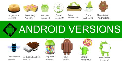 android versions android versions and small on