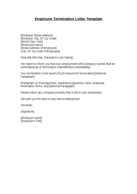 Sle Of A Termination Letter To An Employee by Employee Termination Letter Template Hashdoc
