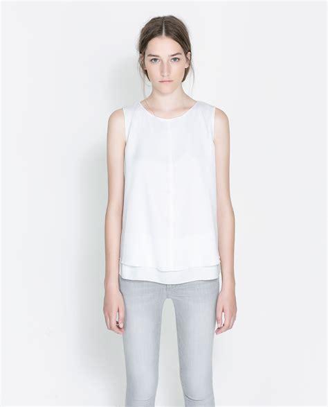 sleeveless blouse zara sleeveless blouse in white lyst
