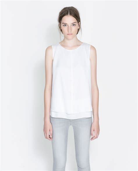 sleeveless blouse white zara sleeveless blouse in white lyst