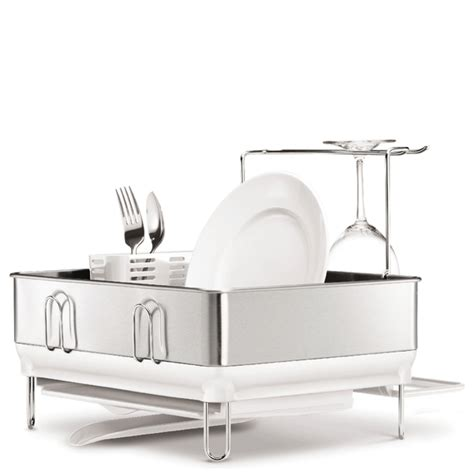 Simplehuman Dish Drying Rack by Simplehuman Compact Brushed Steel Dish Rack Iwoot