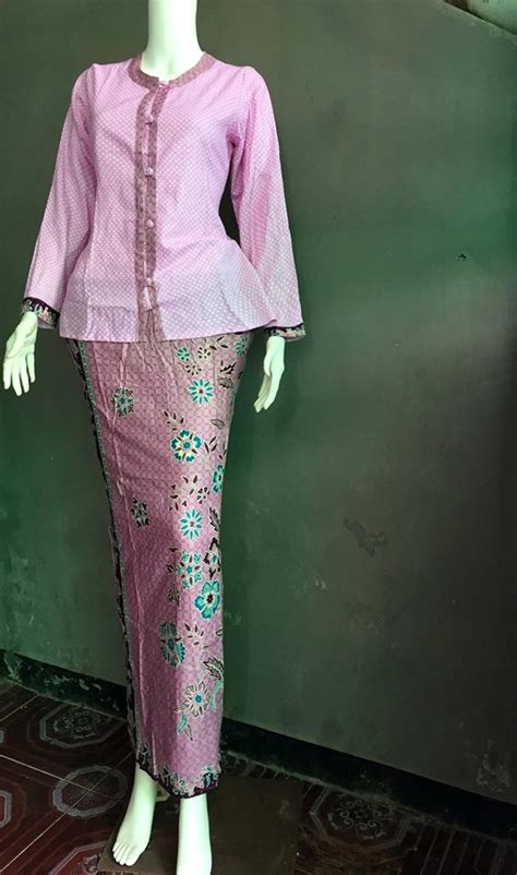 Stelan Batik Blusrok Pink Panjang jual baju batik pramugari baju batik kerja batik stelan rok blus batik sarimbit v3