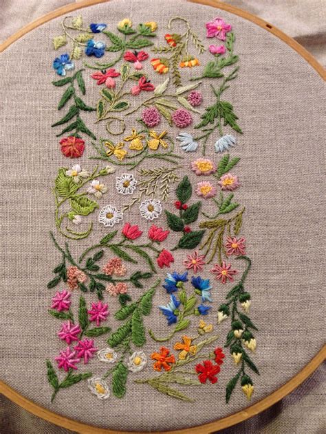 Embroidery Handmade - progress 21 stitch stem stitch and and