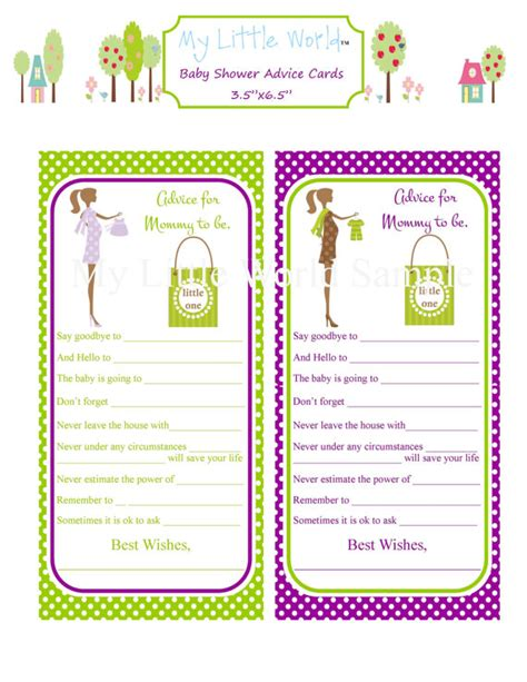 baby shower advice cards free template 8 best images of printable to be advice baby