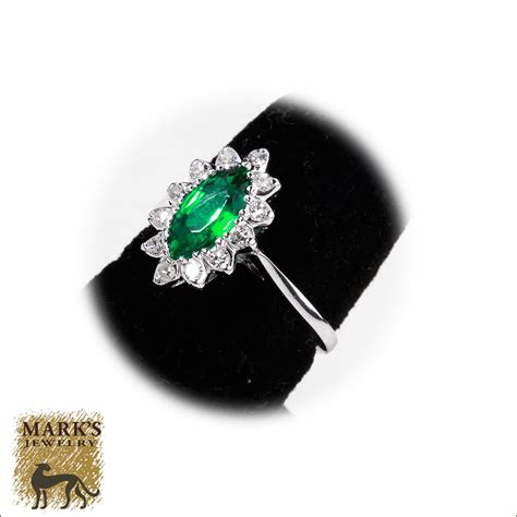 estate 14k yellow gold synthetic marquise emerald
