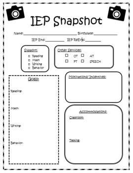 iep snapshot by kris s teacher creations teachers pay