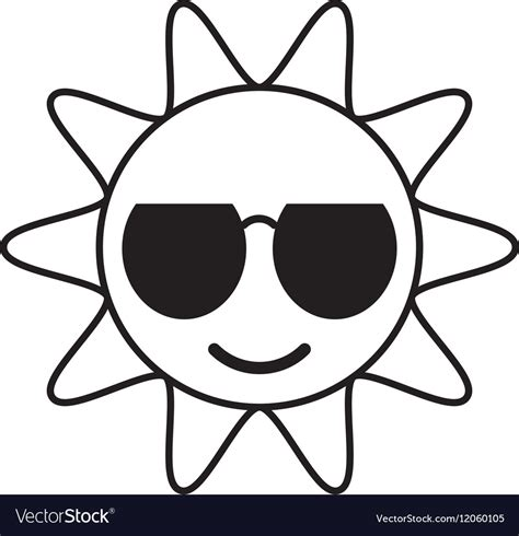 funny images of hot sun outline sun funny glasses hot royalty free vector image