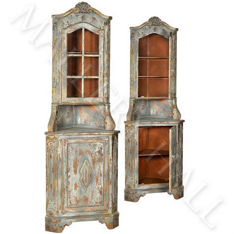 Distressed Curio Cabinet by Distressed Solid Hardwood Corner Curio Storage Display Cabinet