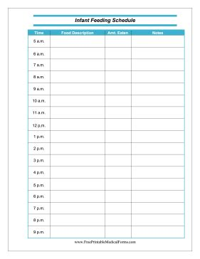 Baby Feeding Chart Template by Printable Infant Feeding Schedule