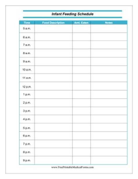baby feeding chart template printable infant feeding schedule