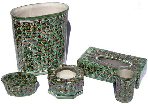 peacock bathroom accessories green peacock talavera ceramic bathroom set