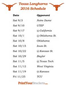 Ut Schedule Printable Longhorns Football Schedule 2016