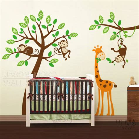 Monkey Nursery Wall Decals Aliexpress Buy Tree Decals Monkeys Giraffe Zoo Wall Stickers Decal Wallpaper