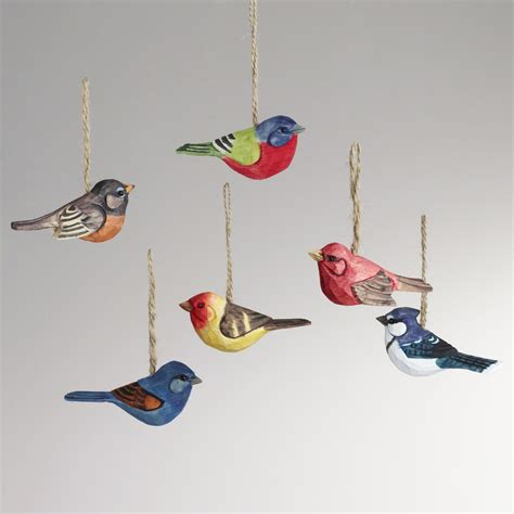 wood bird ornaments set of 6 world market