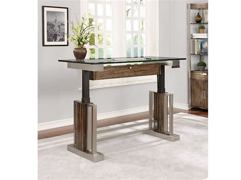 glass top adjustable height desk soho 54 quot sit n stand adjustable height desk with glass top