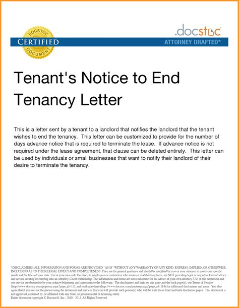 Tenancy Agreement Notice Letter Notice Of Lease Termination Letter From Landlord To Tenant