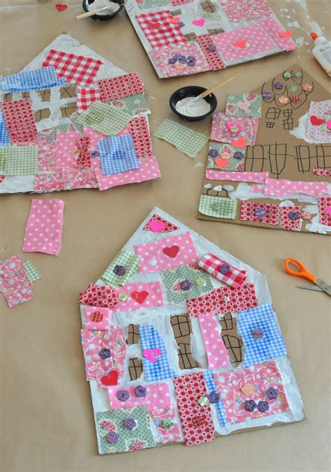 fabric crafts for children patchwork houses with cardboard and collage process