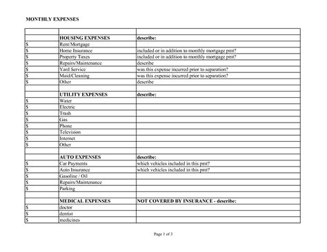 Monthly Expense Sheet Template by Monthly Expense Worksheet Worksheets For School Getadating