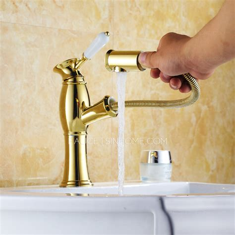 high quality golden polished brass pullout bathroom faucet