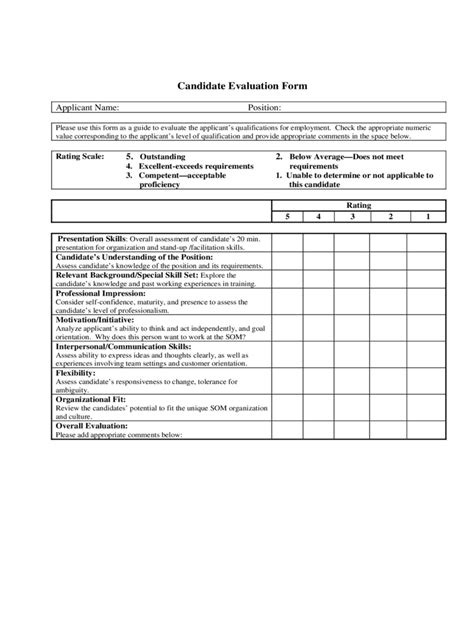candidate evaluation form 2 free templates in pdf word