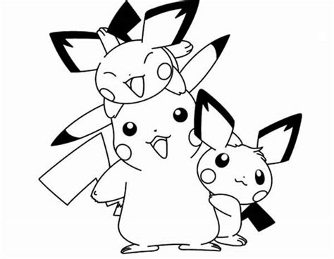 pokemon coloring pages pichu pichu pichu happy family coloring page