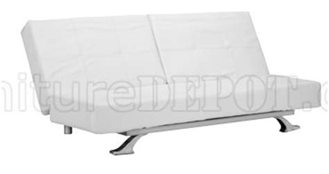 White Futon With Arms White Leatherette Modern Convertible Sofa Bed With Folding Arms