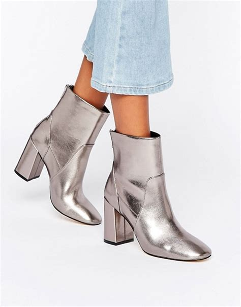 new look new look metallic heeled ankle boot