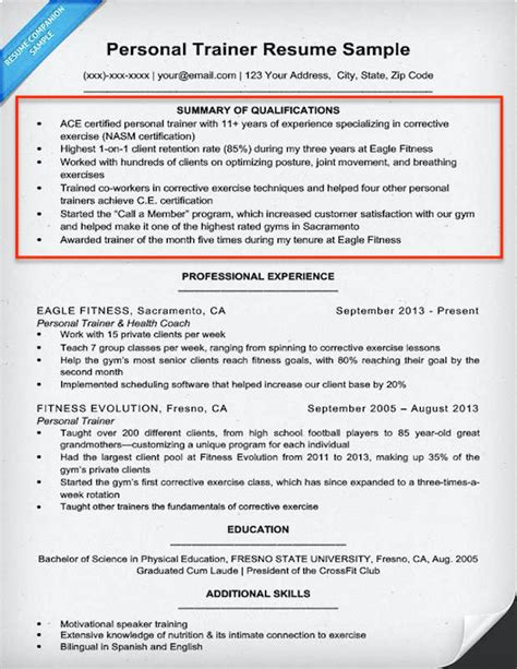 qualifications summary for resume resume summary section examples
