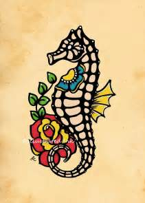 old tattoo seahorse flash art print 5 x 7 8 x 10 or 11