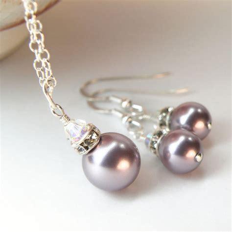 Handmade Pearl Jewelry - purple pearl jewelry set bridesmaid pearl set