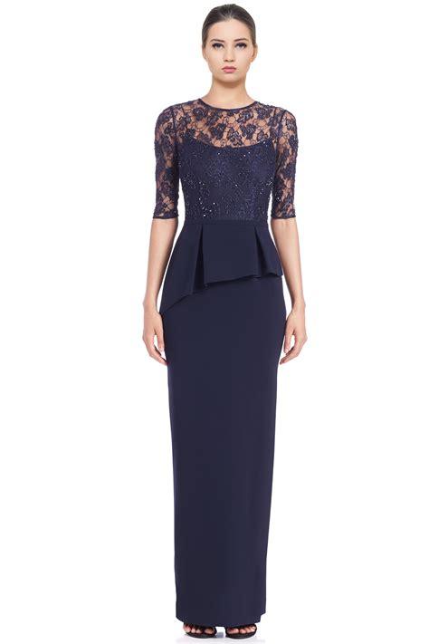 evening dresses dress with peplum hem and lace inserts teri jon navy blue embellished lace peplum column evening