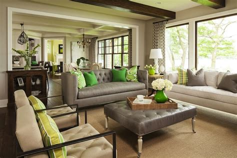 gray and green living room gray tufted sofa contemporary living room benjamin