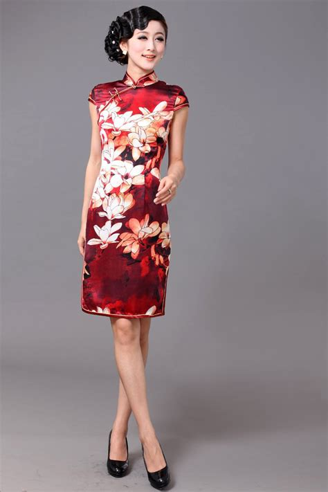 Print modern silk red qipao short chinese cheongsam dress my website