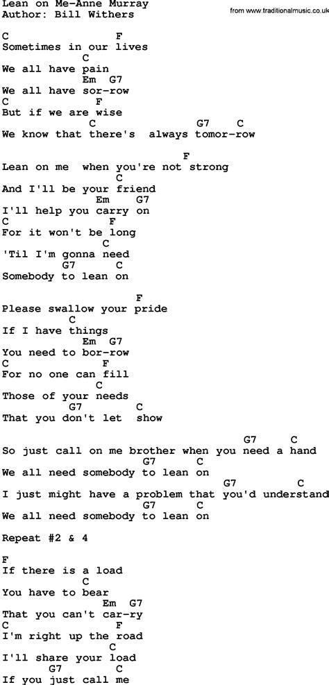 printable lyrics lean on me country music lean on me anne murray lyrics and chords