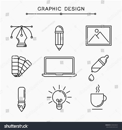 linear layout web design vector linear graphic design icons stock vector 320033024