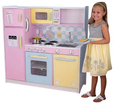 girls kitchen set deluxe wooden large culinary kitchen 3