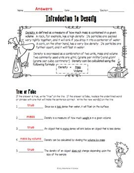 Density Word Problems Worksheet Answers by Introduction To Density Worksheet By Adventures In Science