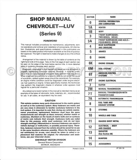 hayes auto repair manual 1979 chevrolet luv auto manual 1979 chevy luv repair shop manual reprint