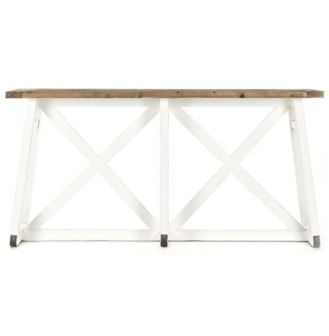 X Base Console Table Mirabel Coastal Rustic White Reclaimed Wood X Base Sofa Console Table