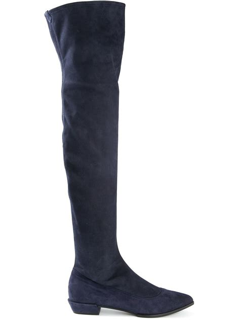 Summer Denim The Knee Boots Sepatu Boots Flat Shoes shop fall s best flat the knee boots stylecaster