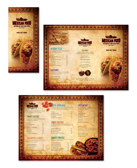 mexican restaurant menu templates mexican restaurant take out menu template