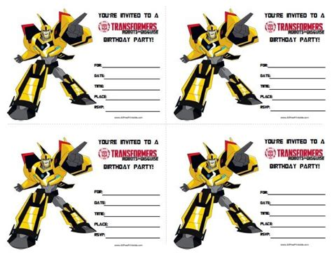 transformer invitation template transformers birthday invitations all free printable