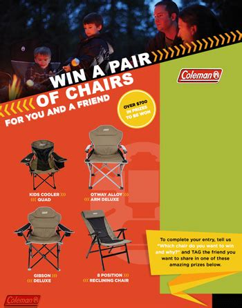 coleman win a pair of chairs for you and a friend