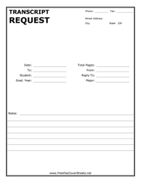 Transcript Request Letter Exle Transcript Request Fax Cover Sheet At Freefaxcoversheets Net