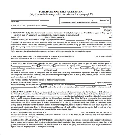 sale and purchase agreement template sle purchase and sale agreement 11 documents in word