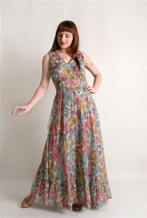 Maxi Dress Syari Pastel Realpic vintage 1970s floral maxi dress pastel garden bloom bouquet