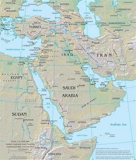 physical middle east map kenneth s arabian peninsula physical map