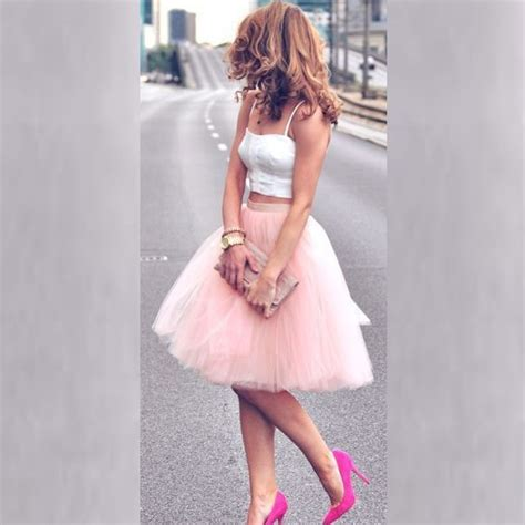 light pink tulle skirt aliexpress com buy free size knee length with ruffles