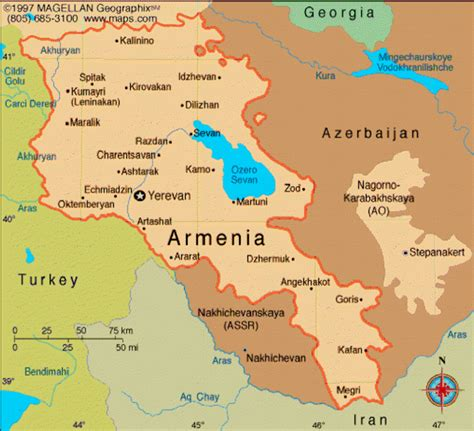 map of armenia map of armenia